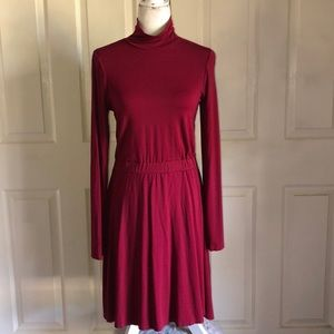 ASOS Burgundy Mock Turtleneck Long Sleeve Dress